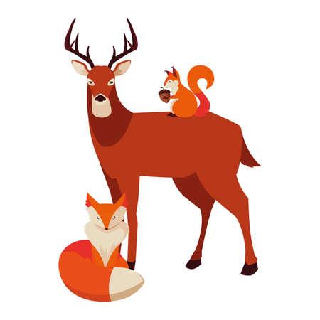 deer fox and squirrel happy autumn season vector illustration
