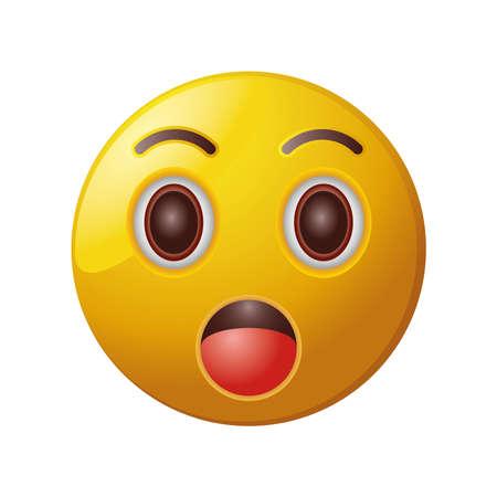 surprised emoticon on white background vector illustration design