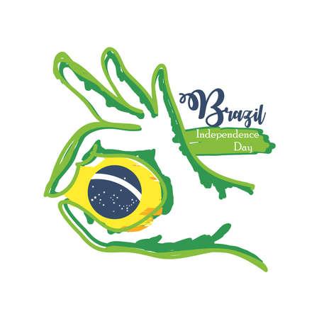 Brazil independence day celebration greeting card vector illustration design