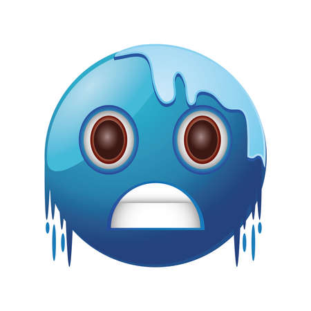blue cold freezing emoticon on white background vector illustration design