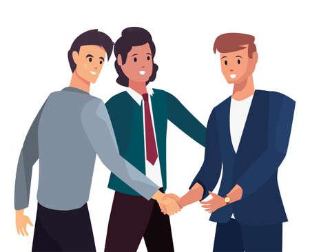 businesspeople handshake agreement meeting flat design vector illustration
