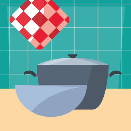 pot bowl rag cooking food preparation kitchen wall vector illustration