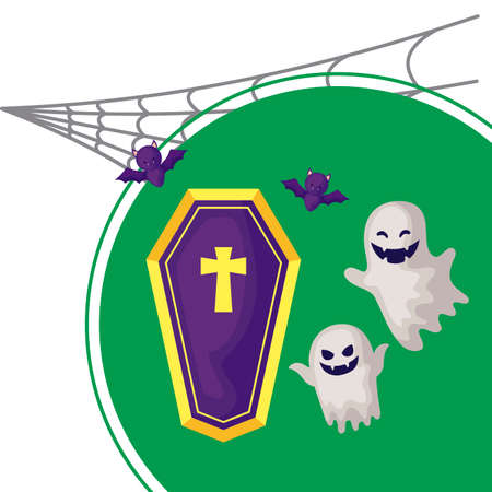 scene of ghost with icons of halloween vector illustration design