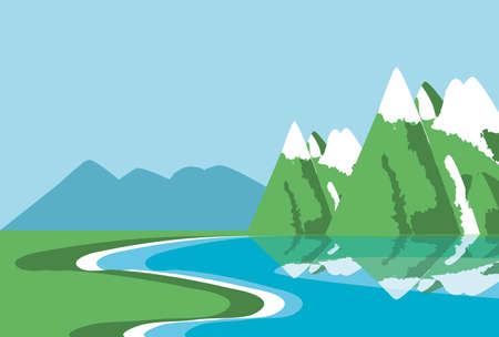 landscape with lake nature icon vector illustration design