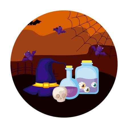 jar with eyes scary with icons in scene halloween vector illustration design