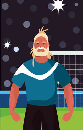 soccer player man in stadium vector illustration design Ilustracja