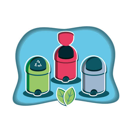 set of recycle bins with leafs vector illustration design