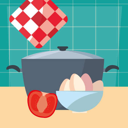bowl eggs pot tomato cooking food preparation kitchen wall vector illustration