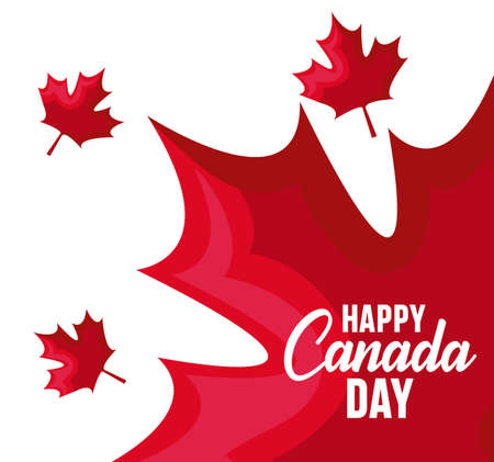 poster of happy canada day with maple leafs vector illustration design Vector Illustration