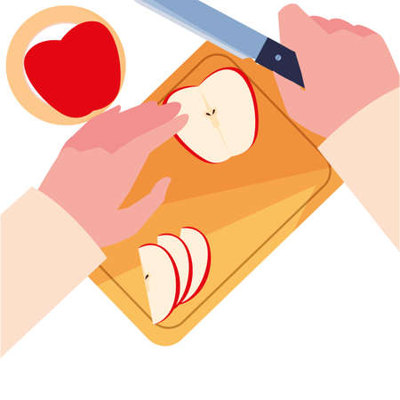 hands with apple cutting board preparation cooking vector illustration 向量圖像