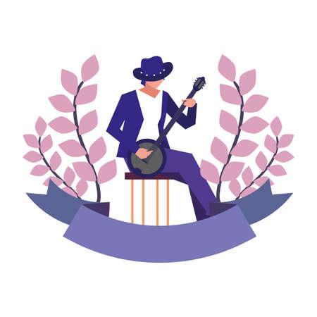 musician man banjo playing instrument vector illustration Vetores