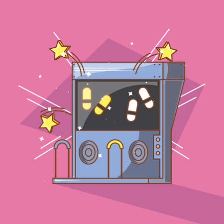 classic video game console of coins with dancing steps vector illustration design