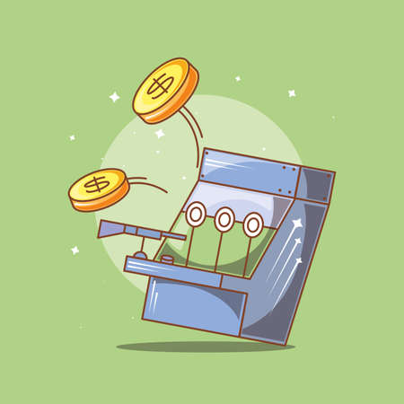 classic video game console of coins with shooting rifle vector illustration design