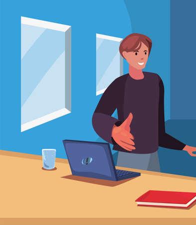 businessman gesture handshake in the office vector illustration Vector Illustratie