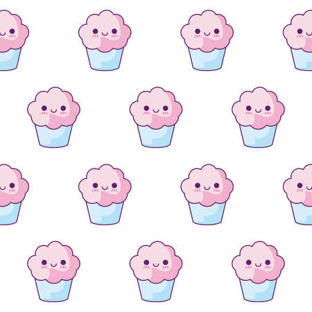 pattern of delicious cupcakes kawaii style vector illustration design