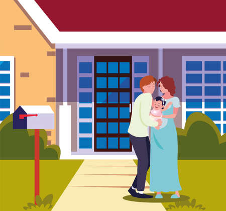 man hugs a woman with baby in the front house vector illustration