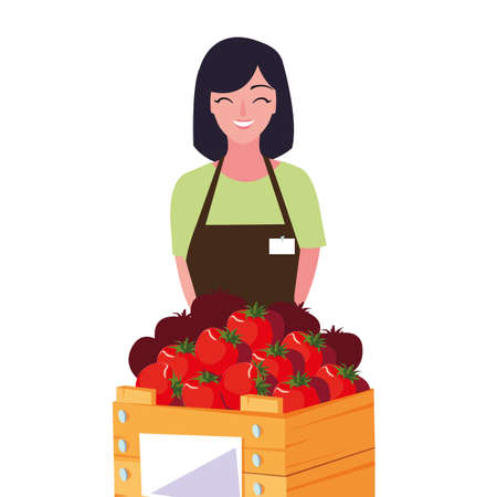 seller woman farm products harvest tomatoes vector illustration