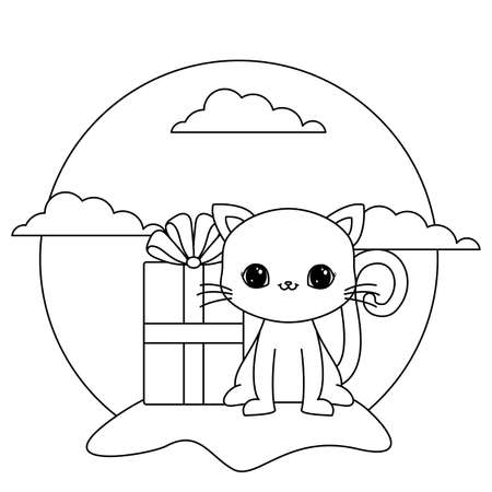 cute cat animal with gift box in landscape vector illustration design