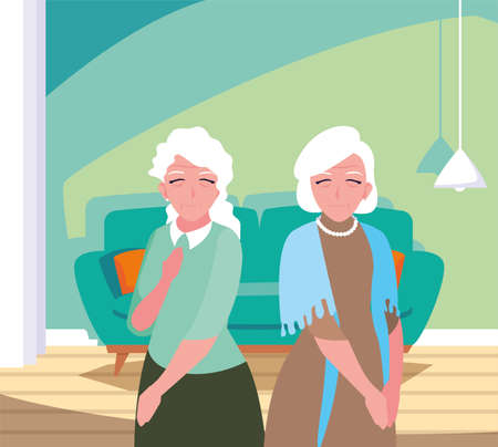 happy grandparents day - two grandmothers in the living room home vector illustration