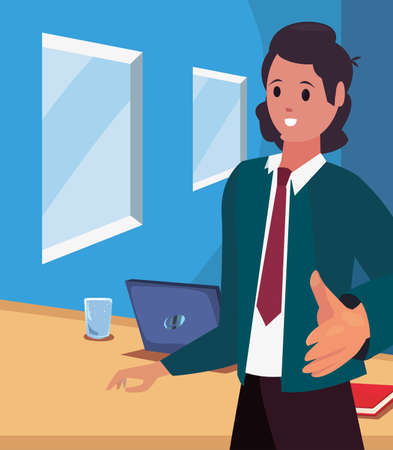 businessman gesture handshake in the office vector illustration