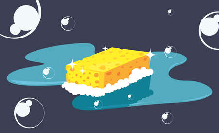 sponge bubbles cleaning products and supplies vector illustration