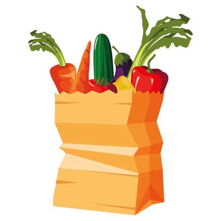 paper bag supermarket vegetables carrot cucumber eggplant vector illustration