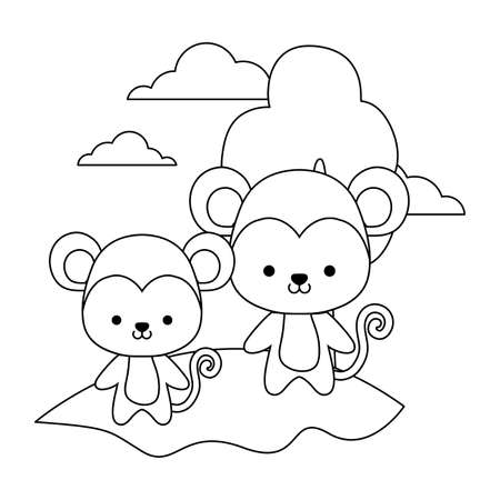 cute monkeys animal in landscape vector illustration design