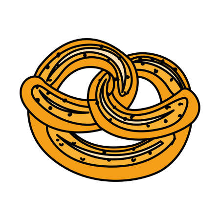 fresh and delicious bread pretzel in white background vector illustration design