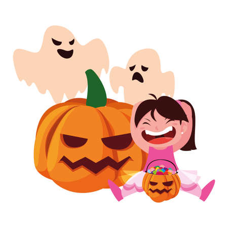 happy girl in Halloween ballerina costume with pumpkins illustration  イラスト・ベクター素材