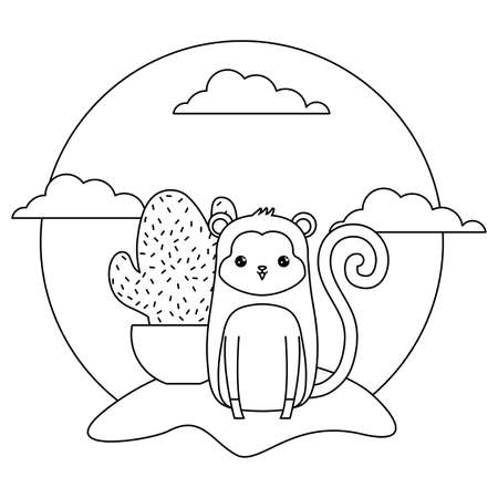 cute monkey animal with cactus in pot in landscape illustration design