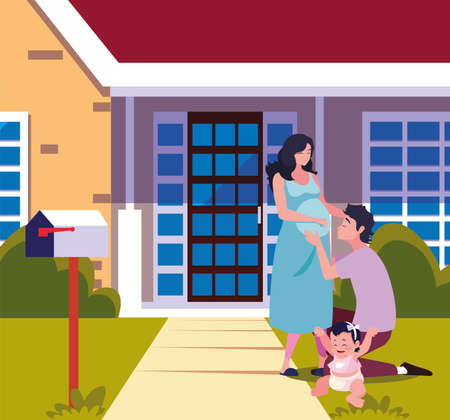 man hugs a woman with baby in the front house illustration Vektorové ilustrace