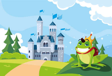 frog prince with castle fairy tale in mountainous landscape illustration design Çizim
