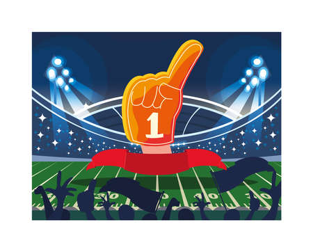 hand glove with number 1 fan, yellow foam finger vector illustration design