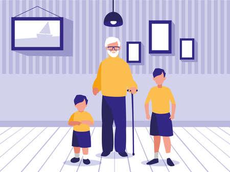 men standing in living room vector illustration design