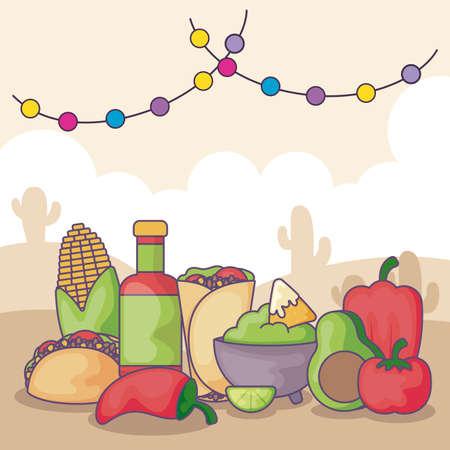 traditional Mexican food and vegetables vector illustration design Vektoros illusztráció