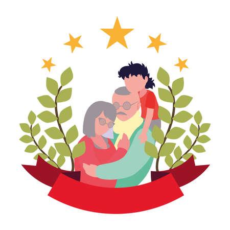 grandpa and grandma hugging with grandson - happy grandparents day vector illustration