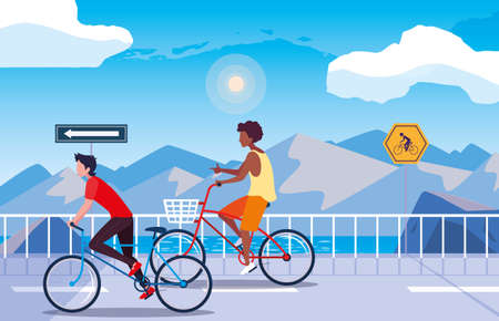 men riding the bicycle road river mountainous landscape vector illustration Çizim