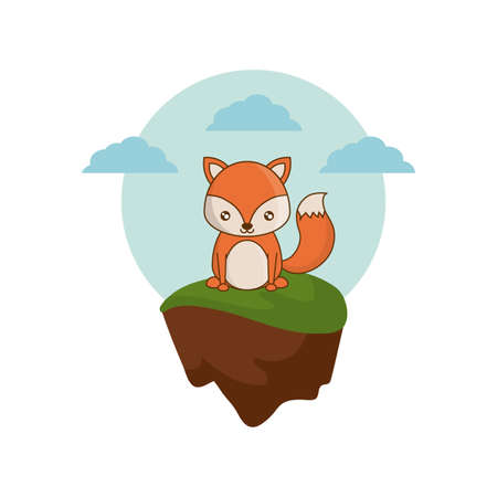 cute fox animal in landscape natural vector illustration design  イラスト・ベクター素材