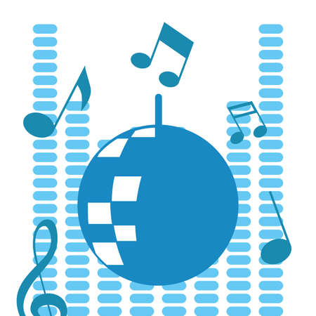 disco ball music sound design vector illustration blue equalizer