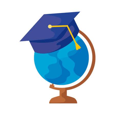 terrestrial globe with hat graduation vector illustration design Vetores
