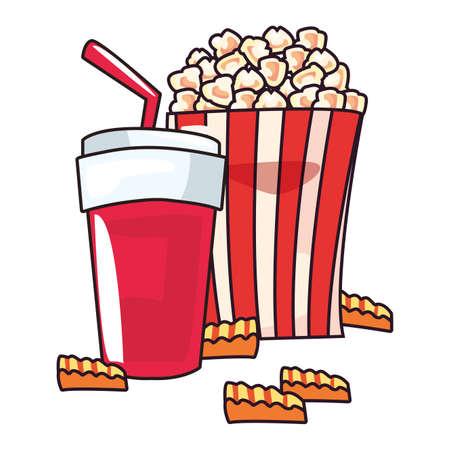 pop corn soda french fries pop art background vector illustration Vector Illustratie