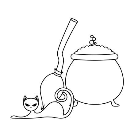 cauldron halloween with broom of witch and cat vector illustration design