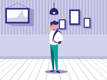 young man standing in living room vector illustration design Çizim