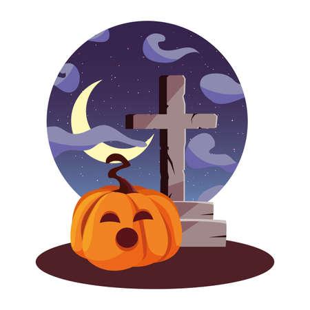 pumpkin cross happy Halloween moon night sky vector illustration