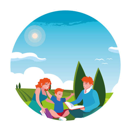 couple of parents and son with background landscape vector illustration design