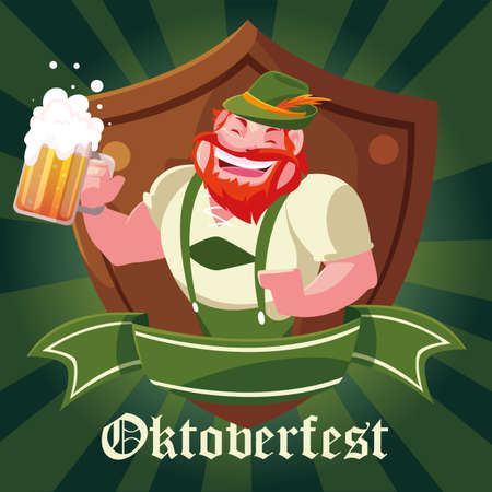 man with German traditional dress and label Oktoberfest vector illustration design