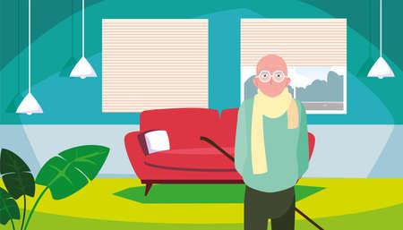 happy grandparents day - cute grandpa in the living room vector illustration Ilustração