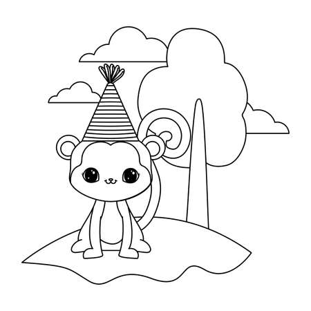 cute monkey animal with tree plant in landscape vector illustration design  イラスト・ベクター素材