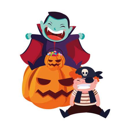 boys in Halloween pirate costume with pumpkins vector illustration Ilustración de vector
