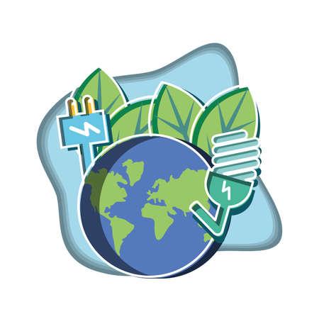 saving bulb with planet earth and energy plug vector illustration design Ilustração Vetorial